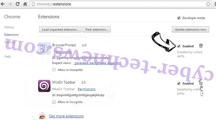 FunCustomCreations MyWay Chrome extensions disable