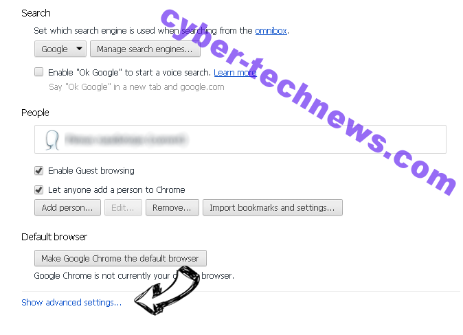 Search.parazipper.com Chrome settings more