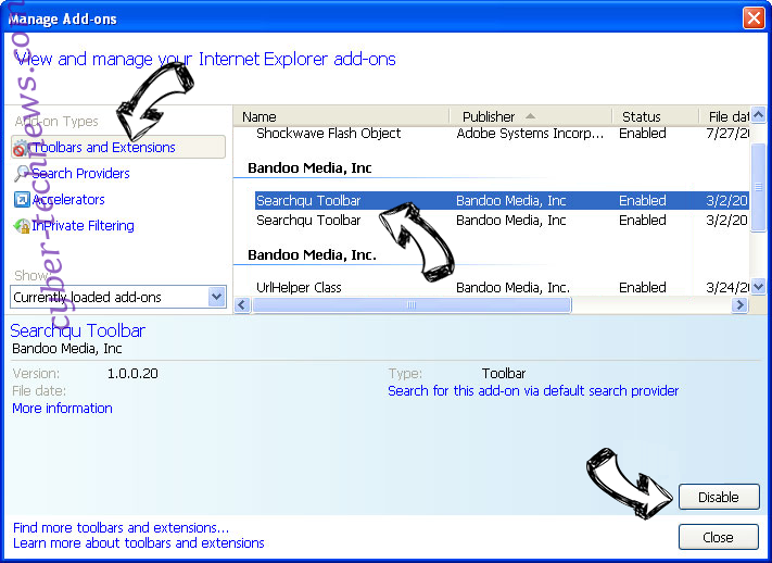 Search.borderov.com IE toolbars and extensions