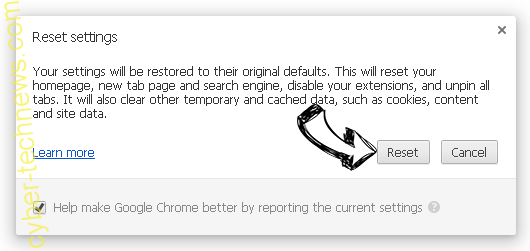 Initial Site 123 Virus Chrome reset