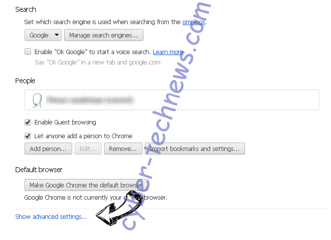 Search Anonymo Virus Chrome settings more