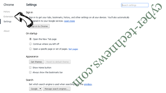 Search Anonymo Virus Chrome settings