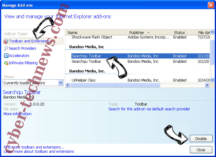 Search Anonymo Virus IE toolbars and extensions