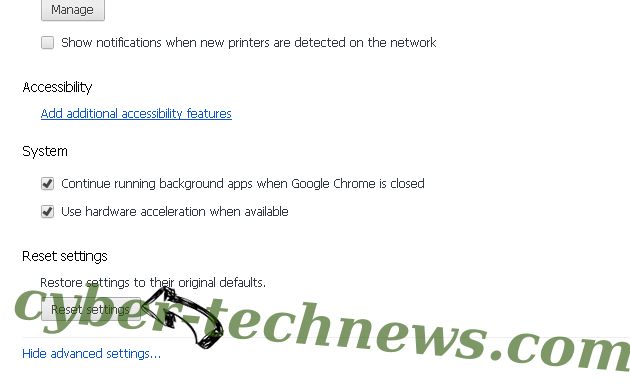 Zippnewsupdate.info Chrome advanced menu