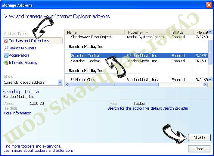 Ultimatesearchweb.com IE toolbars and extensions