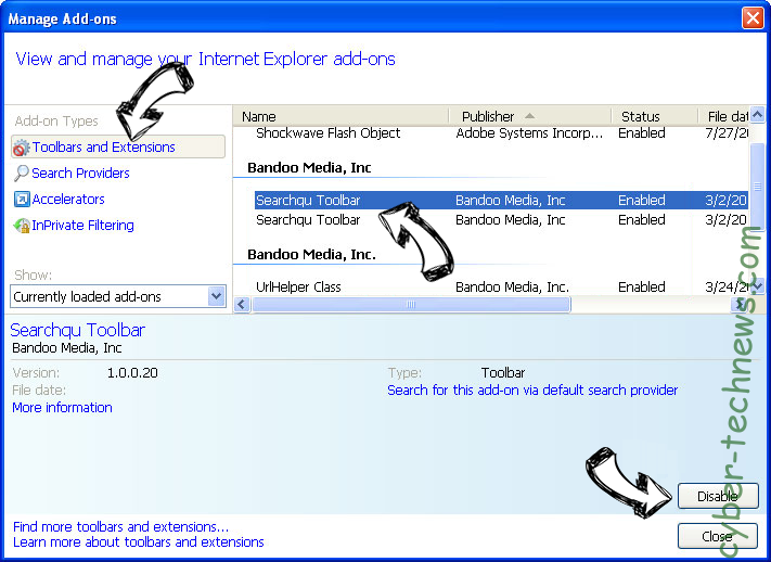 Search.hdailysocialweb.com IE toolbars and extensions