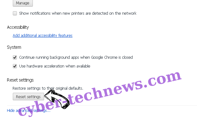 Newsupdatewe.info Chrome advanced menu