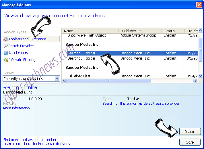 Search.webfinderresults.com IE toolbars and extensions