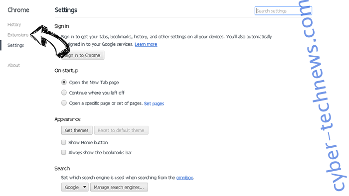 Newsapp.biz Chrome settings