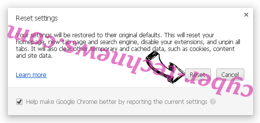 RinoReader Adware Chrome reset