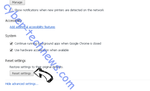 Internet Security Alert virus Chrome advanced menu