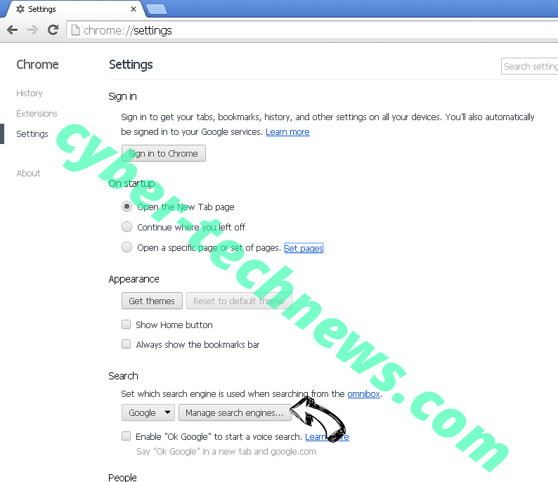 Chromesearch.today Chrome extensions disable