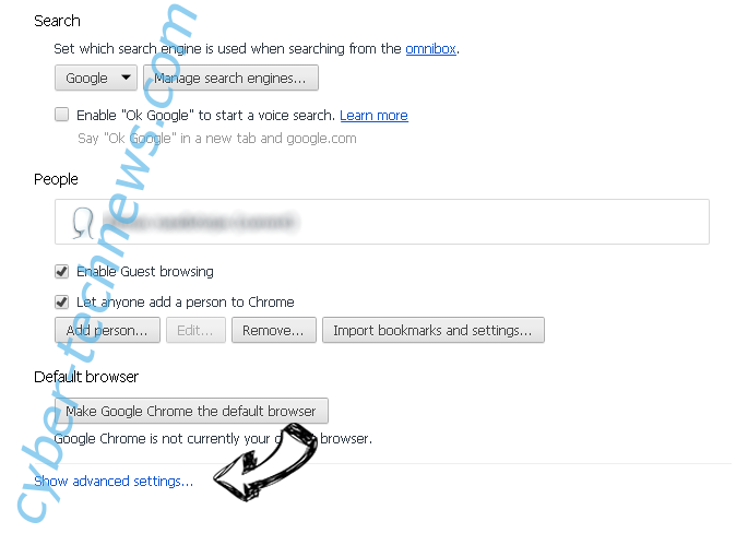 MyBrowserHome.com Chrome settings more