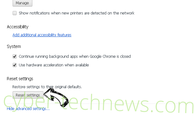 Newtab.today hijacker Chrome advanced menu