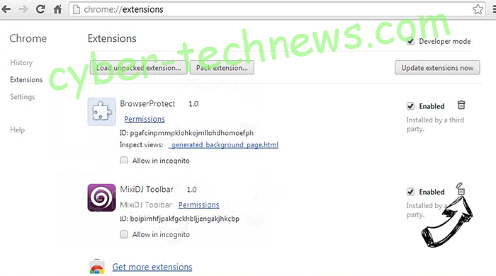 Newtab.today hijacker Chrome extensions remove