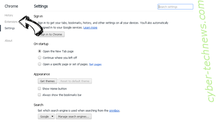 Newtab.today hijacker Chrome settings