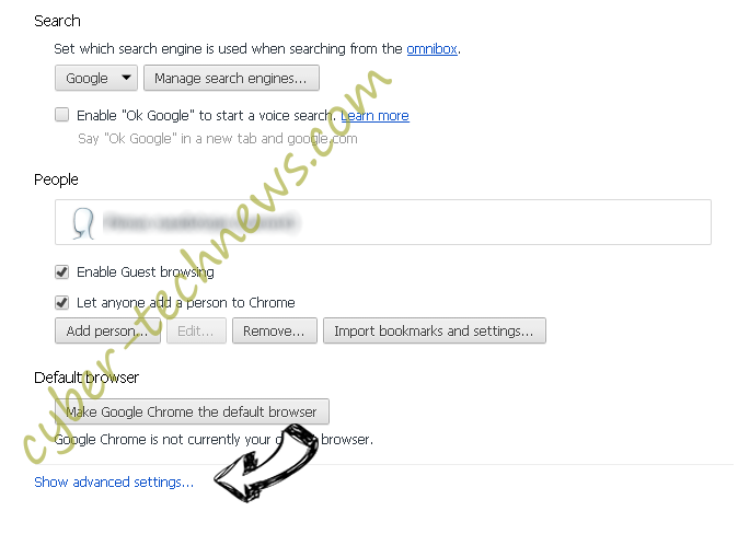 Redisearch.com Chrome settings more