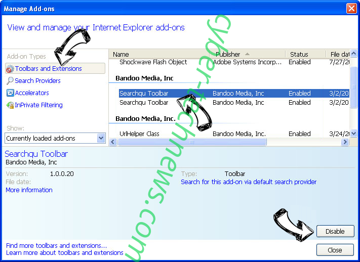 Searchp.icu IE toolbars and extensions