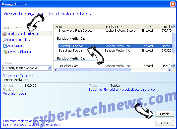 Searchers13.club IE toolbars and extensions