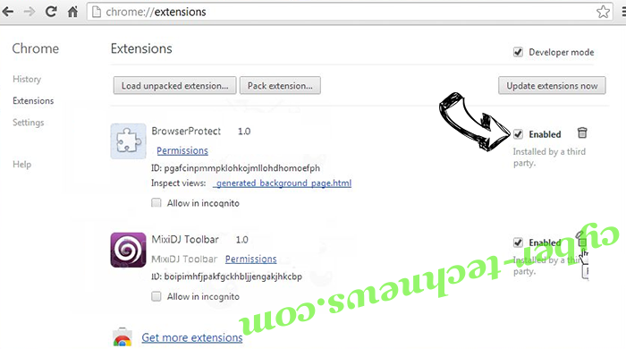 Pushthenme.info Chrome extensions disable