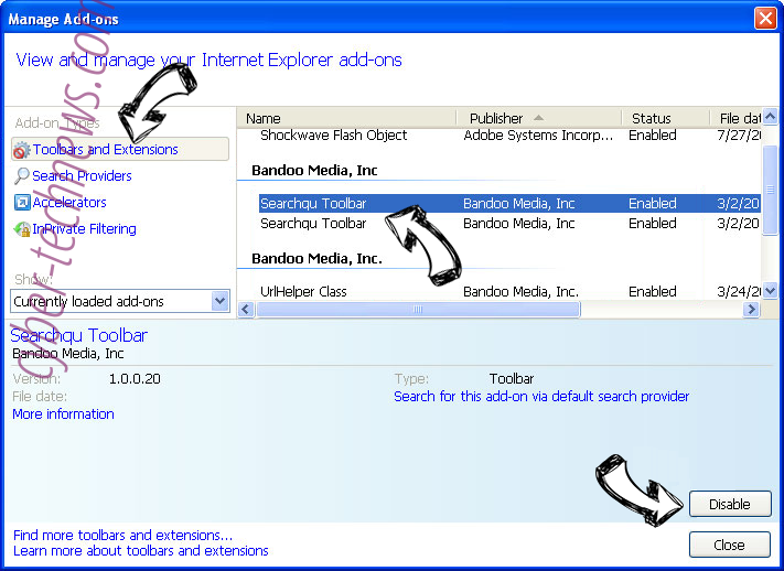 Findprivate.online IE toolbars and extensions