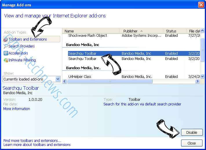 Nsbacking.com IE toolbars and extensions