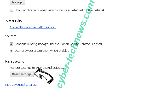 Search Defender Prime redirect Chrome advanced menu