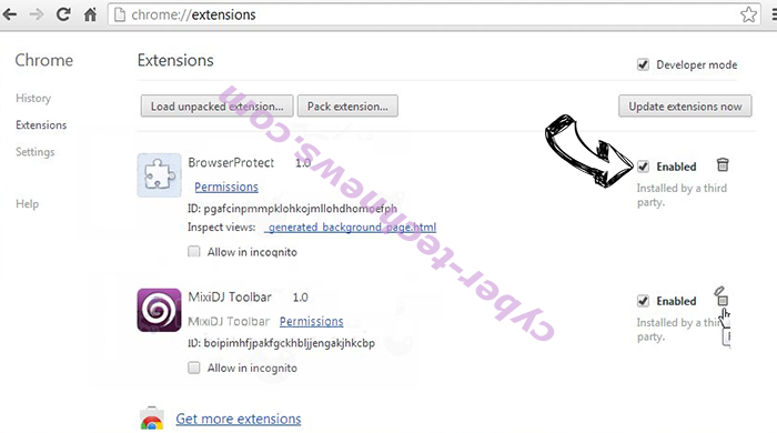 Search Defender Prime redirect Chrome extensions disable