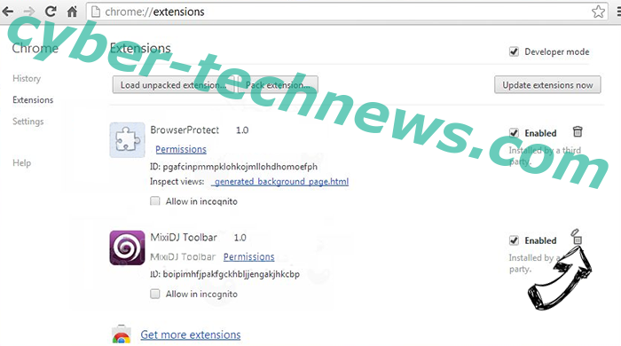 Search Defender Prime redirect Chrome extensions remove