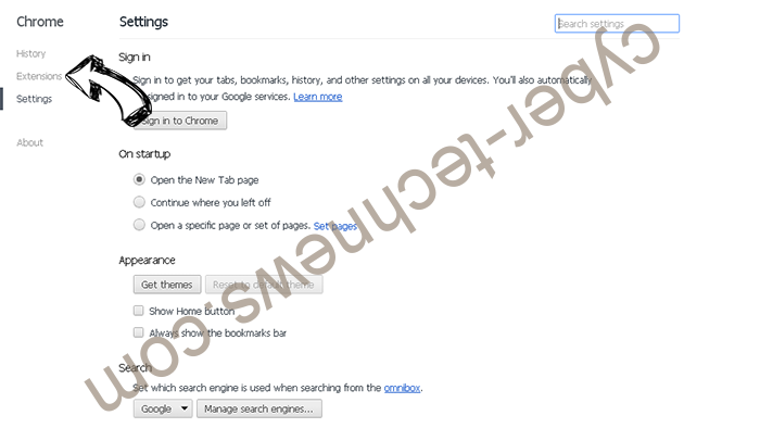 Search Defender Prime redirect Chrome settings