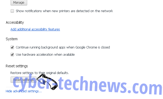 Search.hrecipenetwork.co Chrome advanced menu