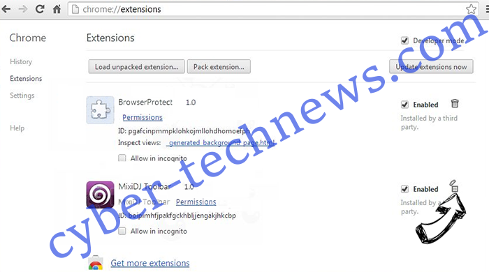 Fydistianper.com virus Chrome extensions remove
