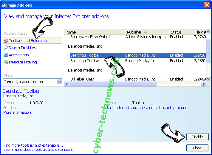 Search Defender Live IE toolbars and extensions