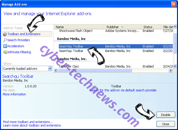 Search.hfastpackagetracker.net IE toolbars and extensions