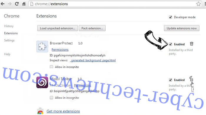 Search-me.club Chrome extensions disable