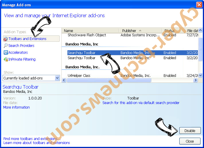 Search-me.club IE toolbars and extensions