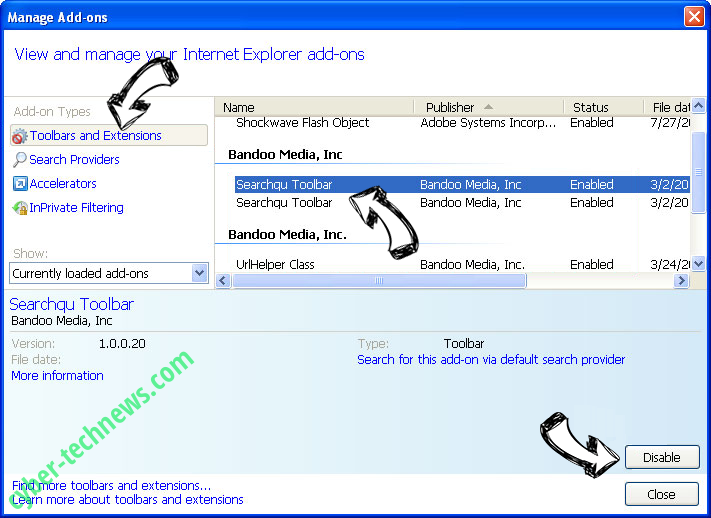 Thursailso.com IE toolbars and extensions