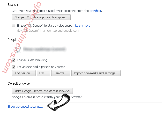 Savvy.search.com Chrome settings more