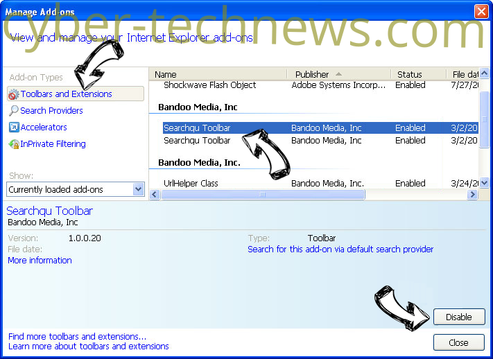 Searchresultsguide.com IE toolbars and extensions