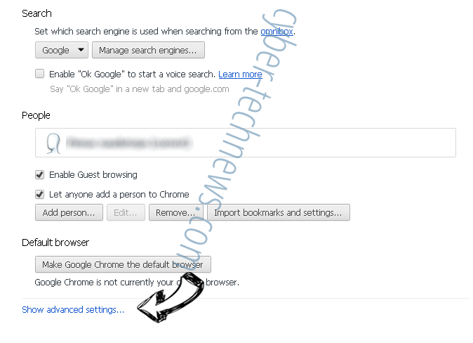 Searchinguncovered.com Chrome settings more