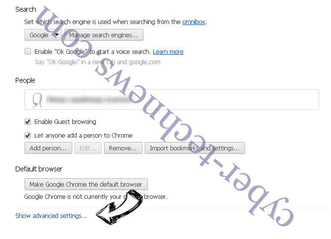 Bing.com Chrome settings more