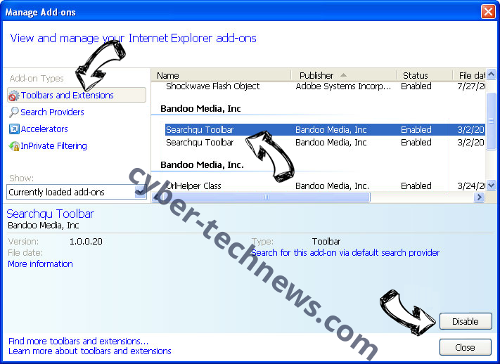 searchsafe.club IE toolbars and extensions