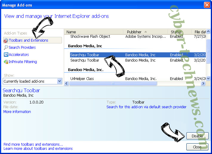 Idisplayboxkude.club IE toolbars and extensions