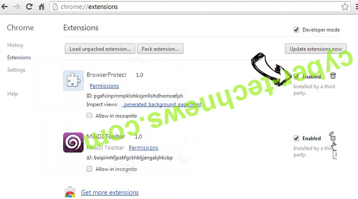 Theremovembera.info Chrome extensions disable