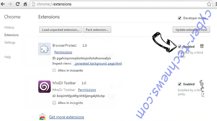 Upstairesphasi.club Chrome extensions disable