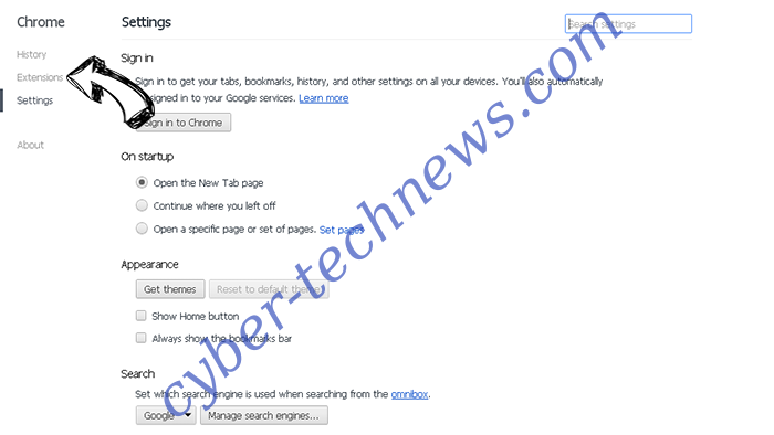 Mnytrk.com virus Chrome settings