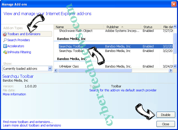 Mnytrk.com virus IE toolbars and extensions