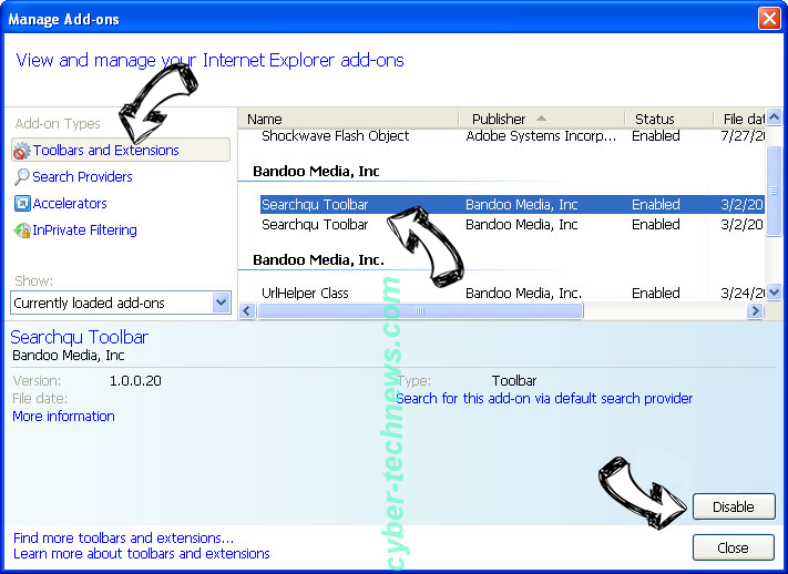 Search.mysearch.com IE toolbars and extensions