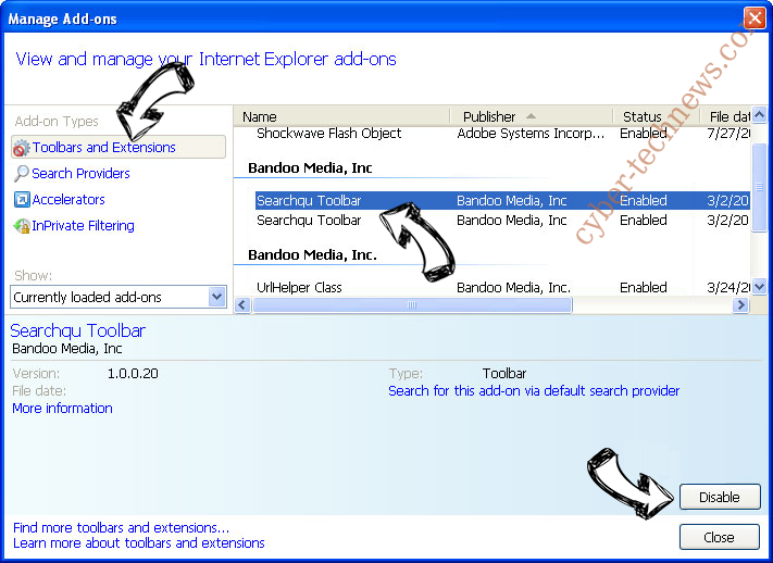 Inasearch.space IE toolbars and extensions
