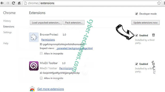 mp3pro.xyz virus Chrome extensions disable